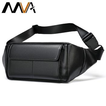 MVA Men Belt Bag Leather Men's Waist Bag Fashion Genuine Leather Waists Bags Men Small Shoulder Bags Male Fanny Pack Casual 7315