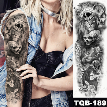 Large Arm Sleeve Tattoo Lion Crown King Rose Waterproof Temporary Tatoo Sticker Wild Wolf Tiger Men Full Skull Totem Tatto 4