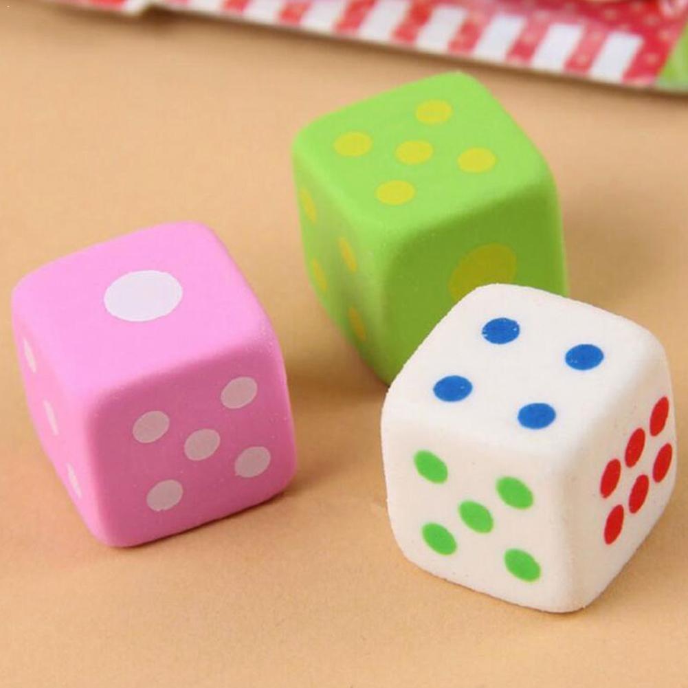 3pcs/set Novelty Dice Shaped Erasers For Kids 3d Cancy Office Color Eraser Toys Supplies School Rubber K0S5