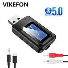 USB Bluetooth 5.0 nadajnik odbiornik wyświetlacz LCD 3.5MM 3.5 AUX Jack RCA bezprzewodowy Adapter Audio Dongle na PC TV głośniki samochodowe