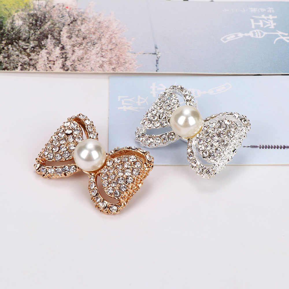 Fashion Busur Simpul Mengkilap Rhinestone Bros Elegan Imitasi Mutiara Bros Pin untuk Wanita Gadis Syal Gaun Perhiasan Aksesoris