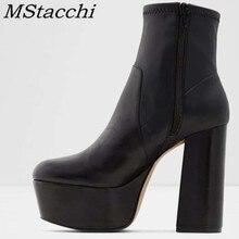 MStacchi Chunky Heel Fashion Women Boots Pointed Toe Zipper