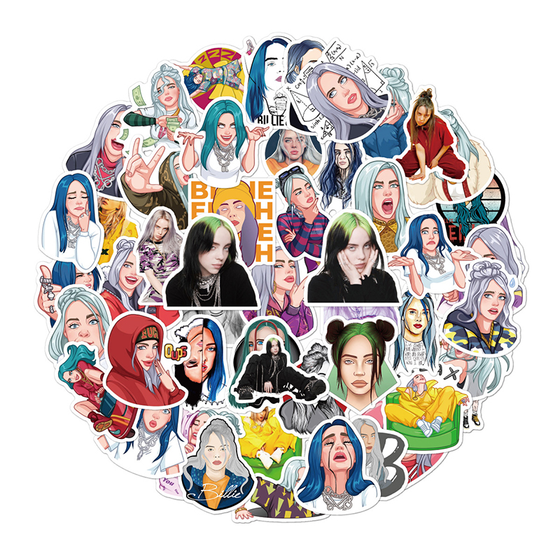 10/30/50 PCS New Anime Cartoon Waterproof Billie Eilish Sticker For Guitar Laptop Motorcycle Suitcase Girly Things Sticker