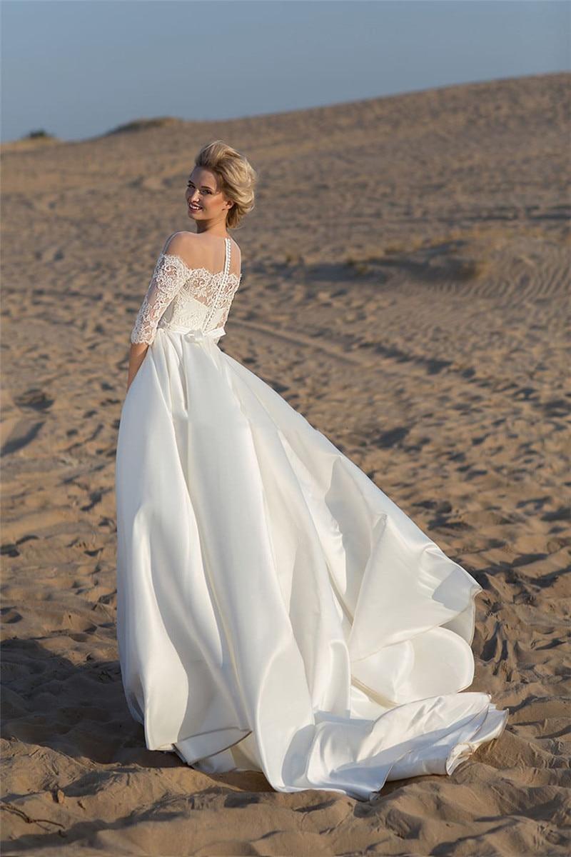 Sheer Scoop Half Sleeves A-Line Wedding Dresses Lace Appliques Modest Custom Pleated Bridal Gowns Princess Vestidos De Mariage