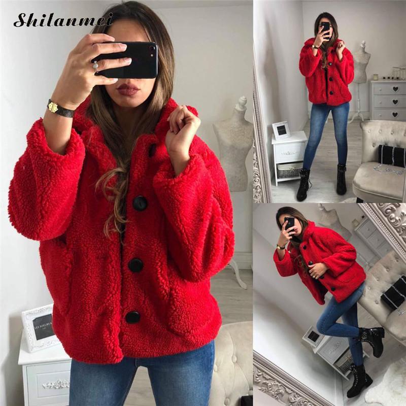 2019 Autumn Winter Casual Fleece   Jacket   Coat Women Single-Breasted   Basic     Jacket   Women Fashion Street Outwear Kawaii Teddy Coat