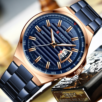 CURREN 8375 Watches Mens Quartz Business Wristwatch Classic Steel Band Watch With Box