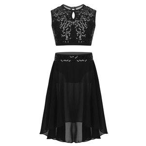 Image 3 - Costume de danse lyrique pour filles, robe de Ballet, haut court à paillettes, sans manches, avec ourlet plongé, ensemble de jupe en mousseline pour danser