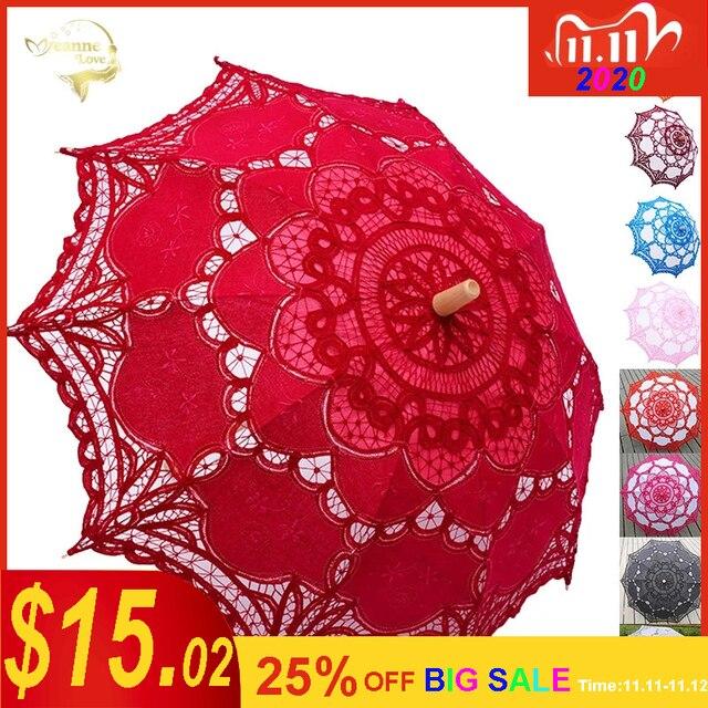 우아한 코 튼 자 수 레이스 파라솔 야외 여름 태양 우산 웨딩 장식 사진 신부 들러리 우산