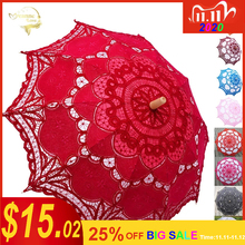 Elegante Baumwolle Stickerei Spitze Sonnenschirm Im Freien Sommer Sonnenschirm für Hochzeit Dekoration Foto Braut Brautjungfer Regenschirm