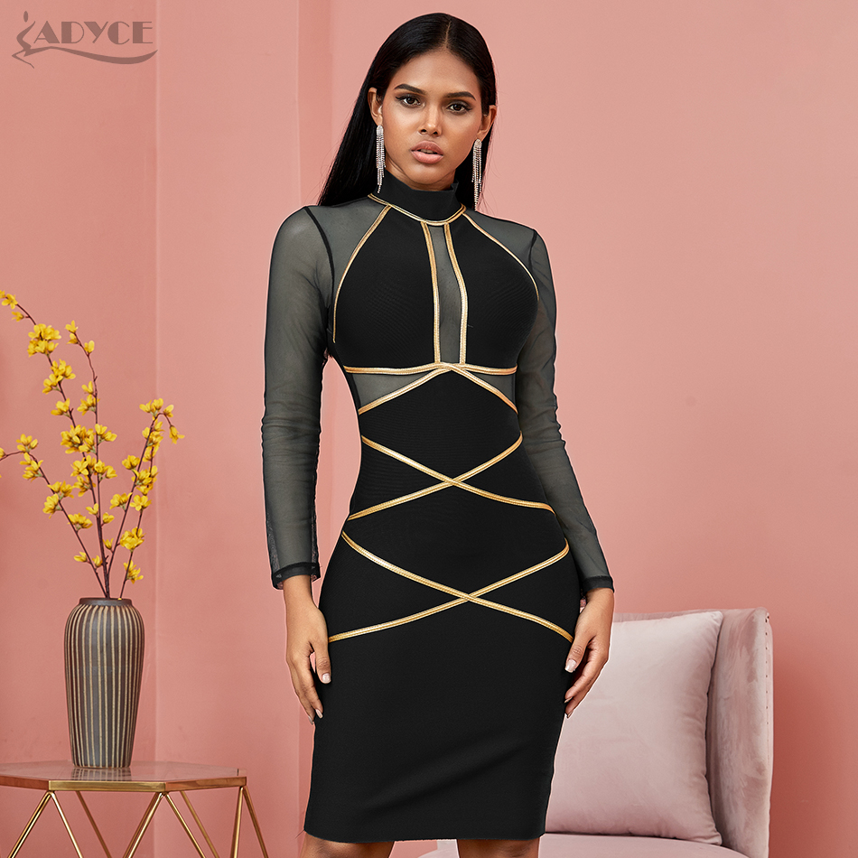 Image 4 - Adyce 2020 New Spring Long Sleeve Green Lace  Bandage Dress Women  Sexy Hollow Out Club Mini Celebrity Evening Runway Party DressDresses