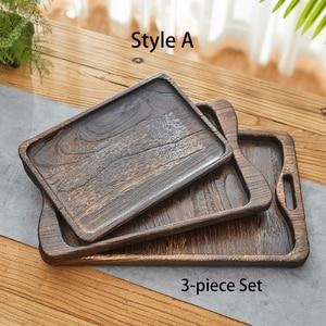 Image 4 - Powieść Paulownia drewniana taca taca herbaciana taca śniadaniowa prostokątna drewniana chińska gniazdująca zestaw tac