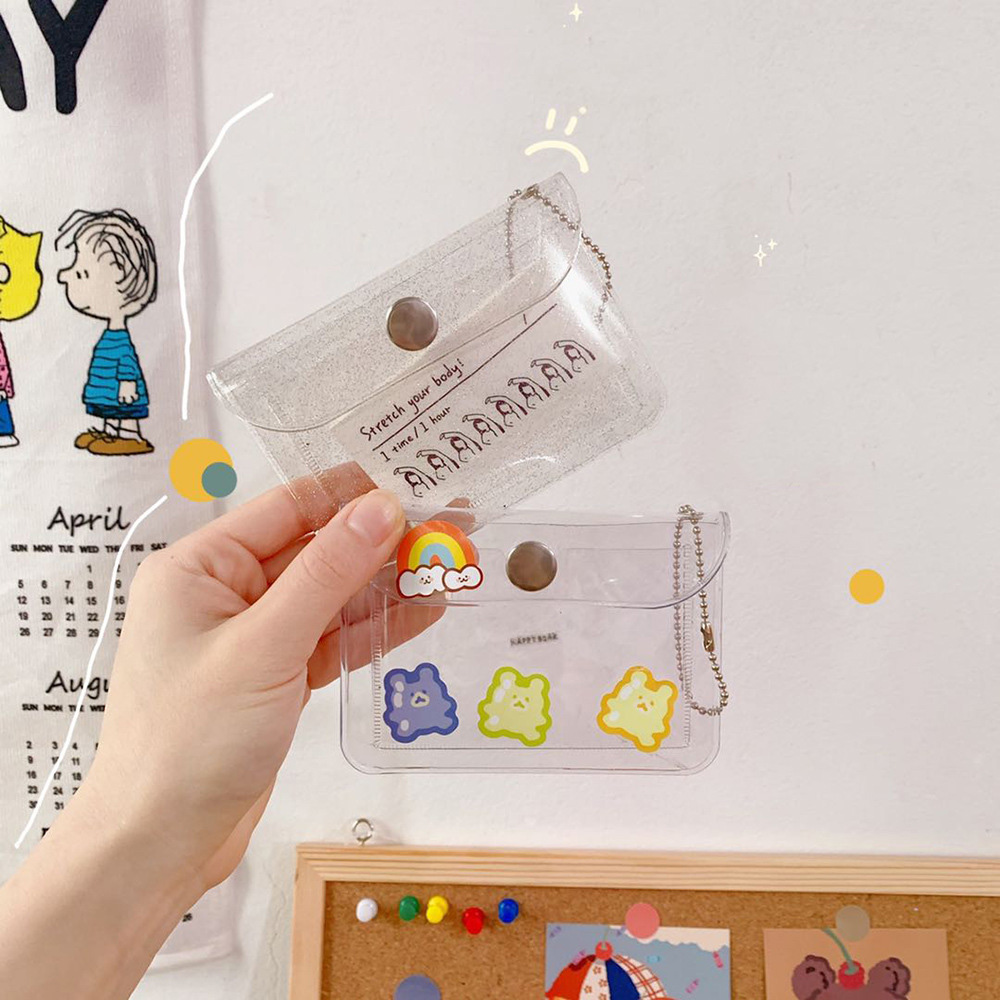 Clear Glitter Badge Card Bag Kpop Cards Display Bag Holder Nurse Doctor Exhibition Pull Key ID Card Protection Case Flash Wallet