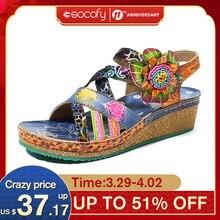 Wedge Heel Sandals Women Shoes SOCOFY Bohemia Genuine-Leather Comfortable Floral Hook