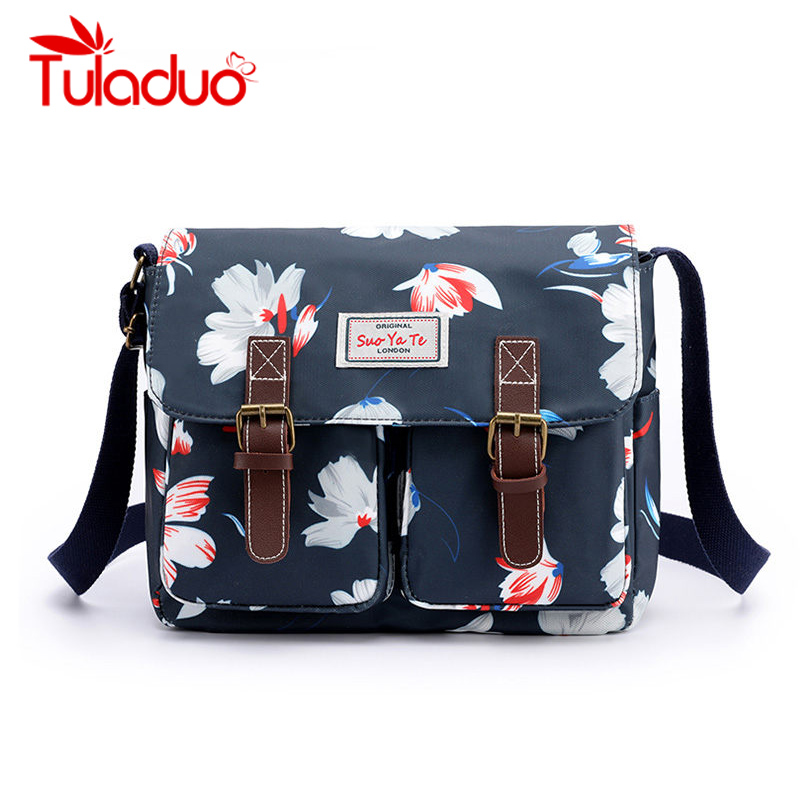 Purse Over-Shoulder-Bag Canvas-Bags Mummy-Bag Floral-Printing Small Korean-Style Fashion