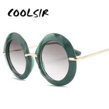 Round Sunglasses Purple Vintage Green Big Shades Designer Women Luxury Brand 90s COOLSIR