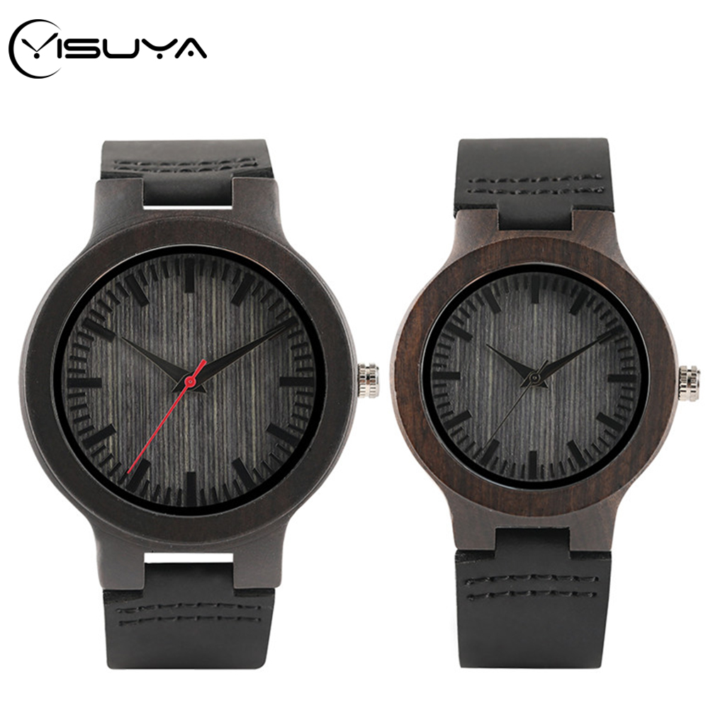 YISUYA Brand Ebony Natural Wooden Clock Leather Wood Quartz Wristwatch Fashion Lovers Souvenir Valentine Gifts Dress Watch Reloj