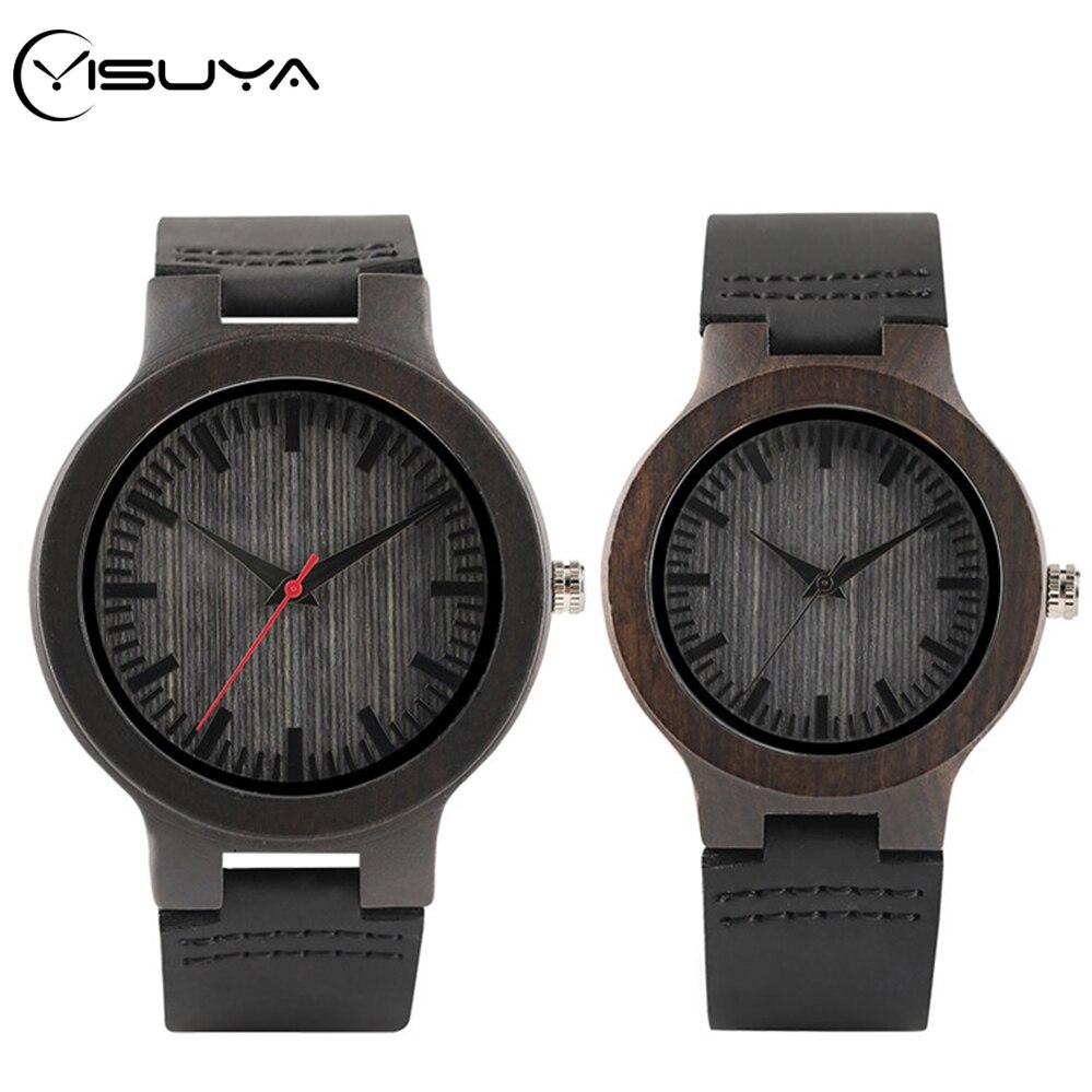 YISUYA Brand Ebony Natural Wooden Clock Leather Wood Quartz Wristwatch Fashion Lovers Souvenir Valentine Gifts Dress Watch Reloj