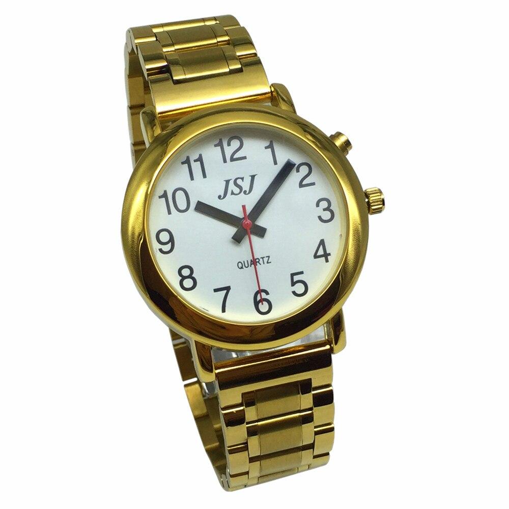 Relógio com Função de Alarme Data e Hora Francês Falando Mostrador Branco Fecho Dobrável Case Dourado Taf-508