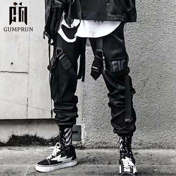 2020 Joggers Cargo Pants for Men Casual Hip Hop Hit Color Pocket Male Trousers Sweatpants Streetwear Ribbons Techwear Pants 1