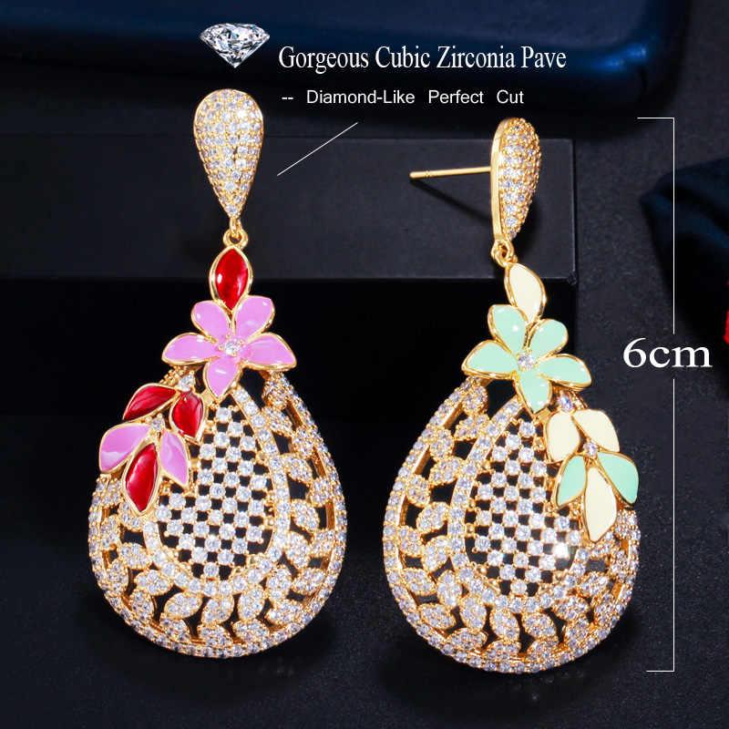 Couleur or cristal Goutte Dangle Boucles d/'oreilles Strass Zircone cubique Pave Boucles d/'oreilles