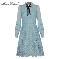 MoaaYina Fashion Designer dress Autumn Women's Dress Ruffles Long Sleeve Hollow Out Embroidery Elegant Dresses