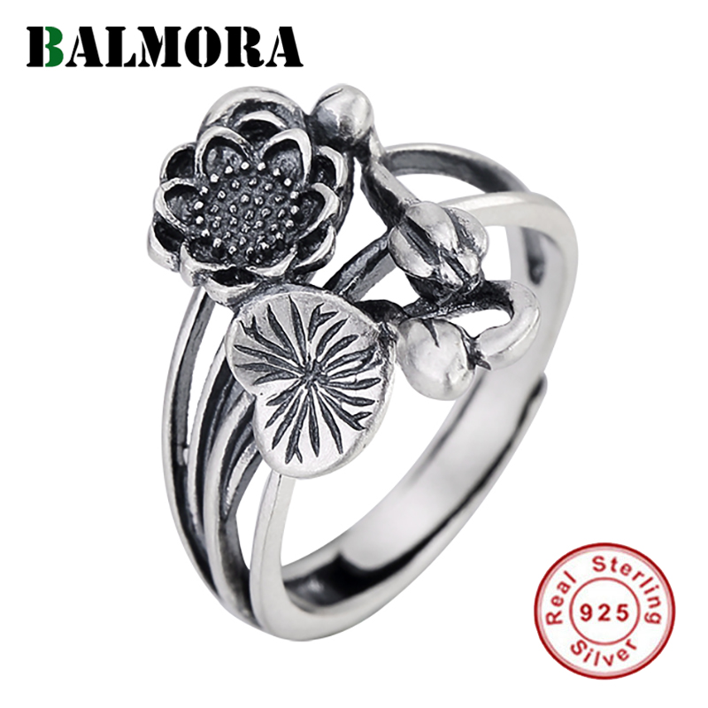 BALMORA Real 925 Sterling Silver Flower Open Stacking Rings For Women Lover Lady Gift Retro Elegant Fashion Jewelry Bijoux