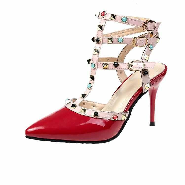 Yeni 2020 avrupa ve amerikan perçin sivri yüksek topuklu moda ince topuk çıplak kayış roma sandalet