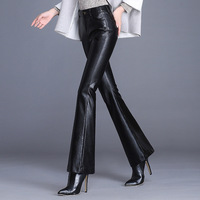 2019 New Brand Woman Formal Work Wear Pu Leather Flare Pants Women Korean Casual High Waisted Skinny Slim Flared Trousers 4XL