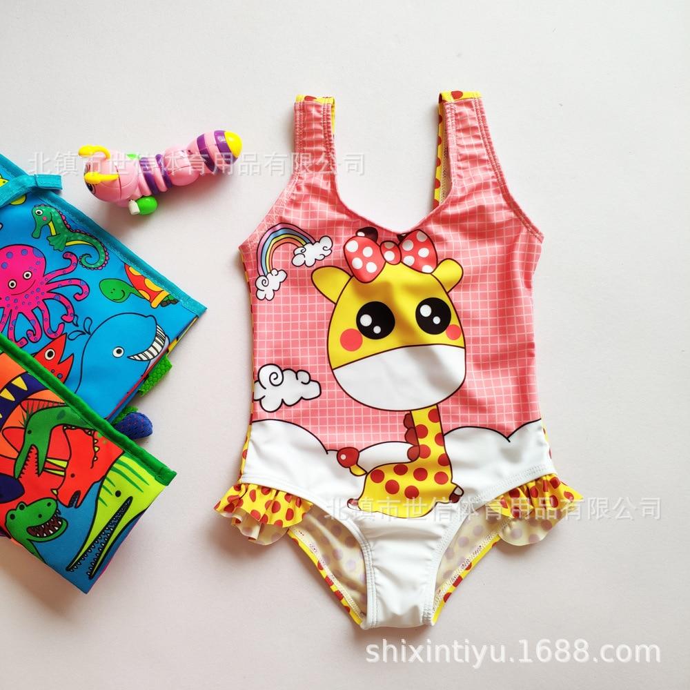 Hot Sales Women's One-piece Triangular Bathing Suit Big Boy Deer Cartoon Cute Bikini Children One-piece Swimwear Wholesale