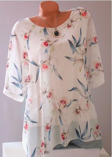 Summer Floral Print Women Blouse 5XL Plus Size Chiffon Blouses Half Sleeve Beach Shirt Office Work Shirts Blusas Feminina Tops