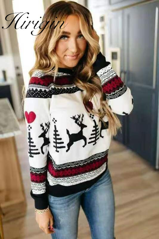 2020 New Year Women's Christmas Xmas Sweatshirts Fashion Female Jumper Sweatshirts Long Sleeve Xmas Deer Printed Pullover Tops