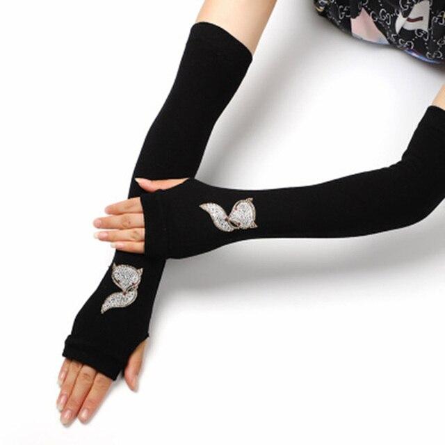 Female Black half finger Long Knitted Warm Driving Mittens Female Cute Fox Sailor Elasticity Dance Rhinestone Punk Gloves H37 2