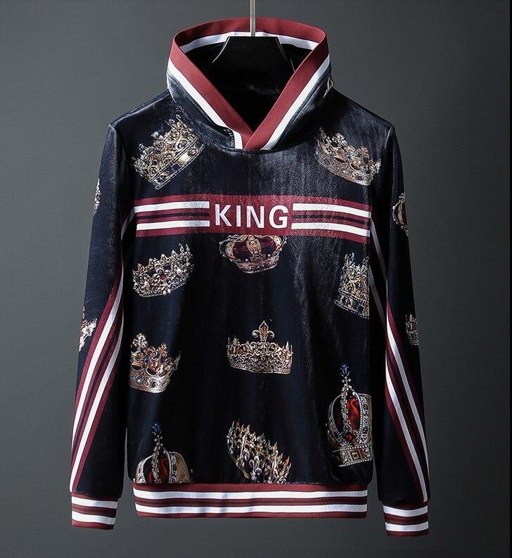 Nouveau 19 luxe haut hommes classique couronne rayure Hoodies à capuche sweats à capuche velours coton Drake épaissir polaire pull # L03