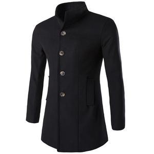 Image 1 - Helisopus mężczyźni długi płaszcz moda kurtka z wełny 2020 wiosna jesień stanąć kołnierz mieszanki wełny czarny płaszcz