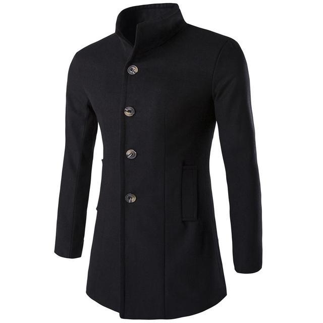 Helisopus mężczyźni długi płaszcz moda kurtka z wełny 2020 wiosna jesień stanąć kołnierz mieszanki wełny czarny płaszcz