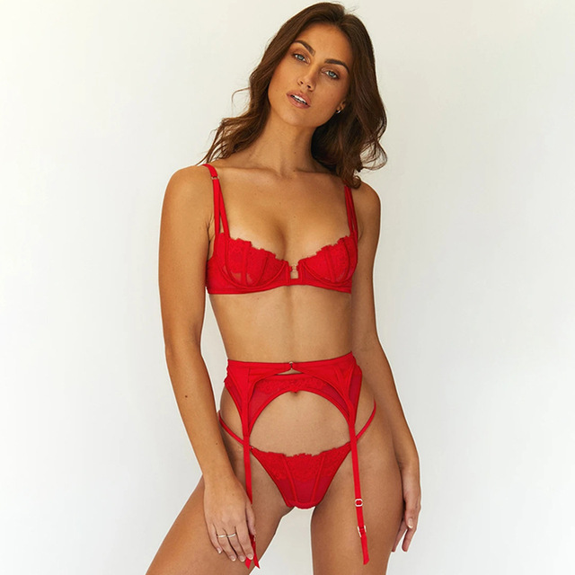 Sexy Red 3 Piece Lingerie Set  3