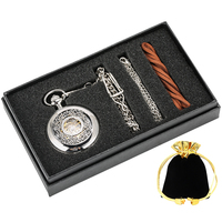 Hand winding Mechanical Pocket Watch Pendant Chain Gifts Box Unisex Hollow Out Black Dial Durable Silver Case Pocket Watch