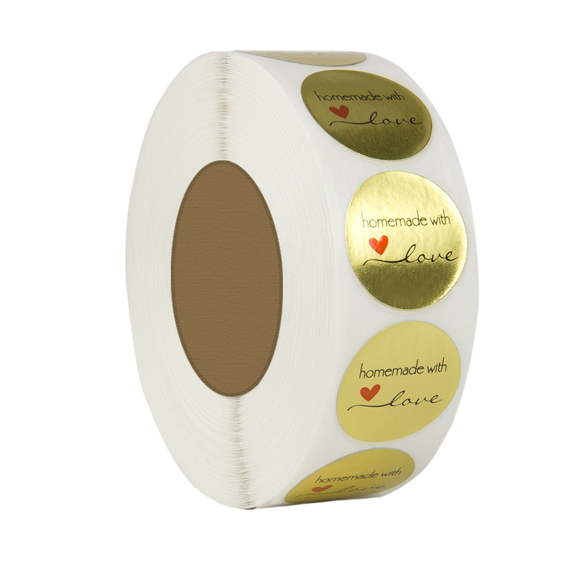 1 Inch Round Gold Foil Homemade With Love Stickers/500 Labels Per Roll