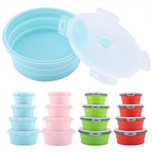 4pcs/ Set Portable Silicone Lunch Box Round Silicone Safe Durable Foldable Lunch Box Bento Tableware Food Grade box(China)
