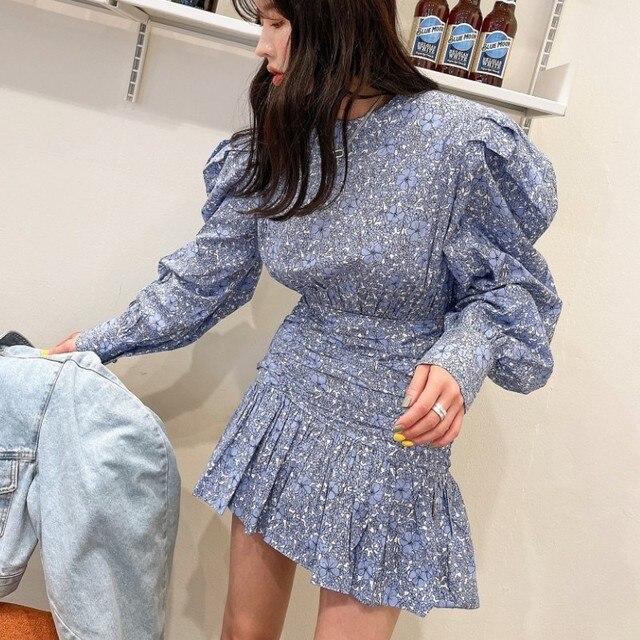 Retro Fashion Flower Print Women Casual O-Neck Puff Long Sleeve Dress 2021 Summer Casual Ruffles Beach Short Dress 3