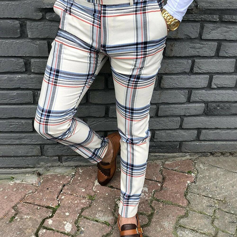 New Fashion Men Plaid Long Slim Trousers Plaid Print Tracksuit Bottoms Skinny Casual Mens Joggers Sweat Track Pant Harem Pants
