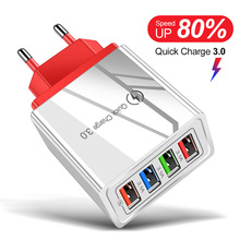 4 USB Charger Quick Charge 3.0 For Phone Adapter for iPhone XR Huawei Tablet Por