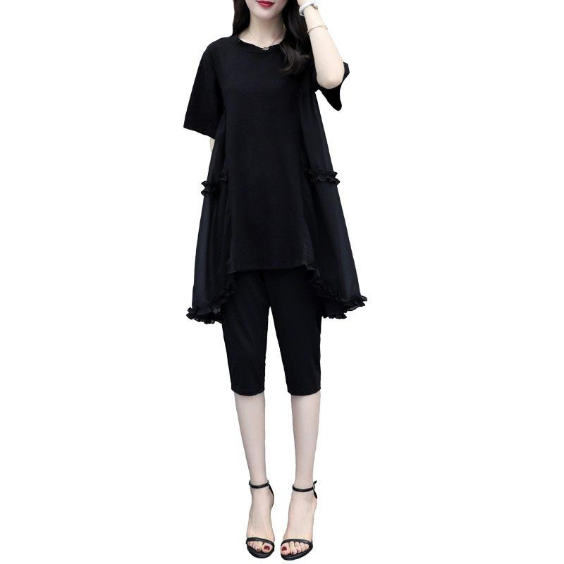 MISSKY 2Pcs/set Women Sets Casual Suit Tops + Pencil Pants Short Sleeve Black Loose Summer Wear Plus Size L-4XL Female Clothes