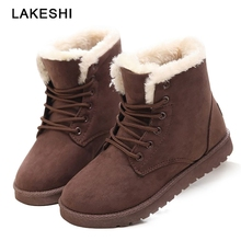 Women Boots Warm Fur Ankle Snow Female Winter Booties Suede Plush Shoes Botas Mujer