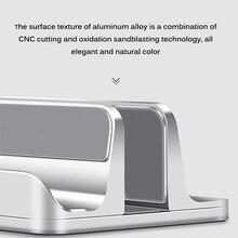 Suporte duplo vertical para laptop, suporte para celular, liga de alumínio, suporte ajustável para laptop, para ipad