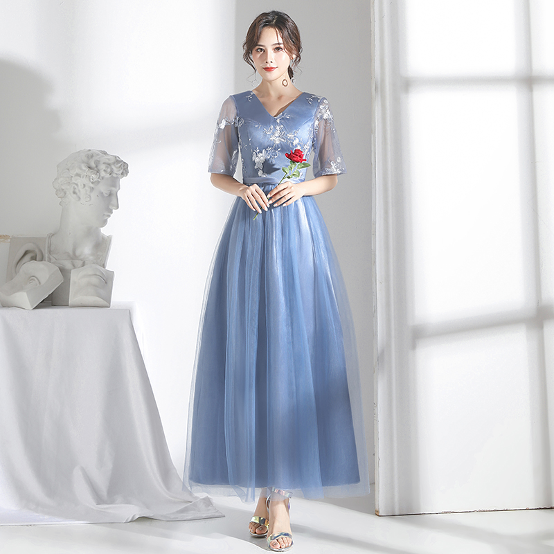 A-Line Tulle Embroidery Long Bridesmaid Dress Elegant Guest Wedding Party Dress V-neck Sexy Dress Prom Azul Royal Vestidos Mujer