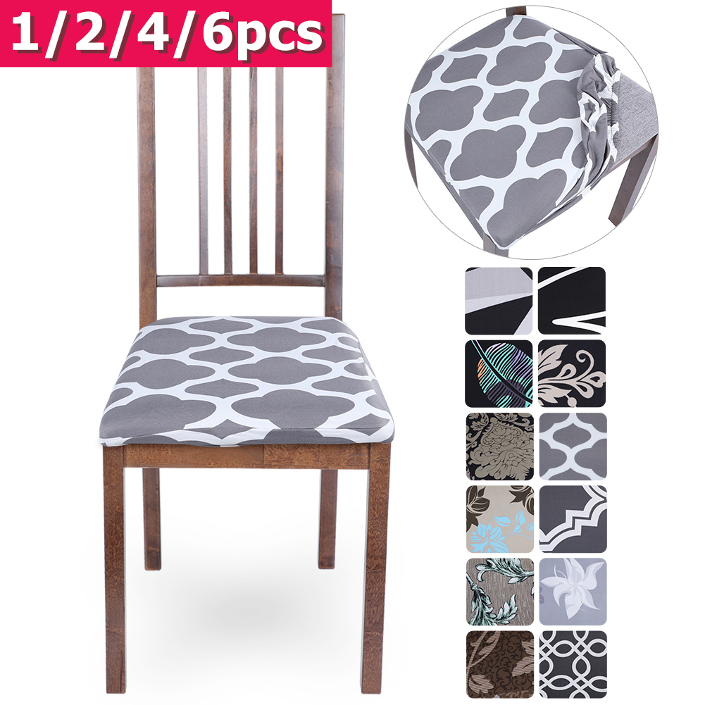 Stretch Elastic Dining Room Chair Seat Covers Universal Removable Washable Chair Seat Cover Protector Cushion Slipcover