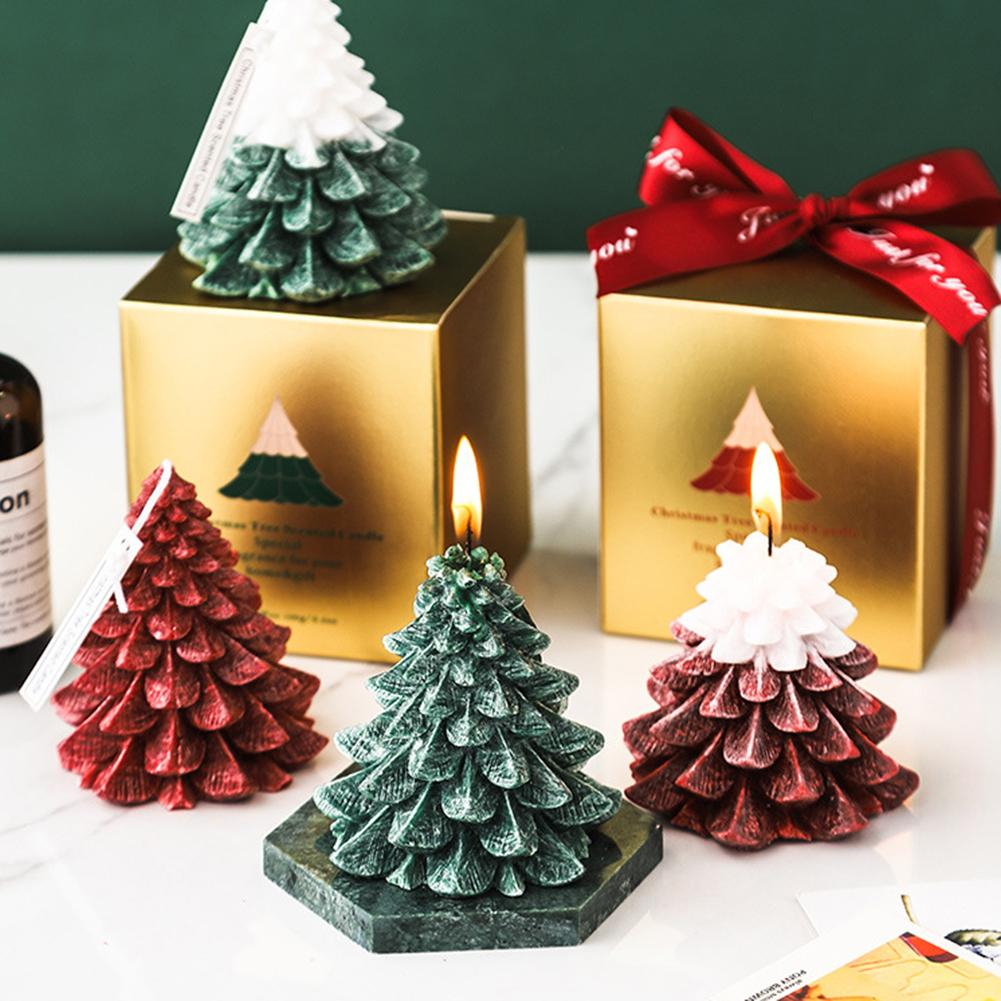 Christmas Tree Shape Scented Aromatherapy Candle for Home Festival Party Bedroom Dining Table Candlelight Dinner Decor