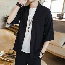 Koszula męska Haori męski kardigan Streetwear Yukata japońskie Kimono tradycyjny japoński samuraj odzież męska Kimono koszula 4XL 5XL tanie tanio CN (pochodzenie) COTTON Linen Połowa G20072734 M L XL XXL 3XL 4XL 5XL Black White Solid Casual Vintage High Quality Polyester Soft Comfortable Loose Haori