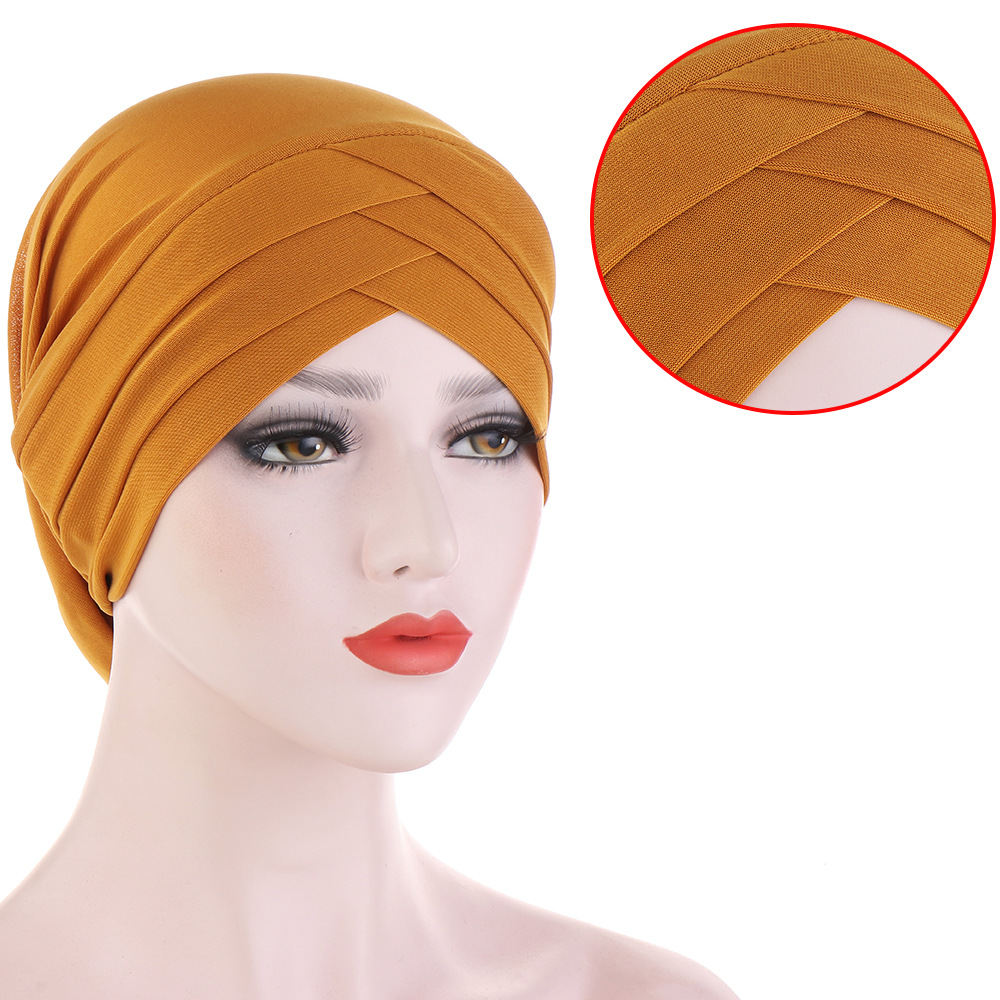 2020 Forehead Cross Muslim Turban Bonnet Pure Color Stretch Cotton Inner Hijabs Ready To Wear Women Head Scarf Under Hijab Caps